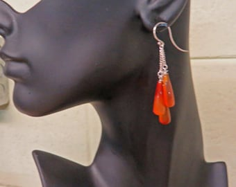 Carnelian Earrings - Triple Carnelian & Sterling Silver Dangle Earrings - July (Alternate) Birthstone Dangle/Drop Earrings