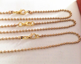 20pcs 45cm  2.0mm Light Gold plated   Necklace  Ball Chain  Necklace Chain For Jewelry Making