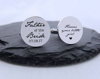 Personalized Cufflinks Engraved Cufflinks Round Cufflinks Cuff link Gifts for Him Father of the Bride Cufflink Father of the Bride Gift