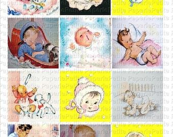 Vintage Baby Images Digital Download Collage Sheet 2.5 inch