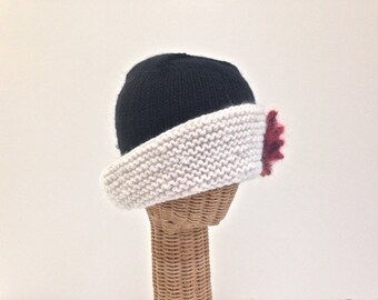Knit Hat Womans Cloche Black White Wool Mohair  Hat  Detachable Red Flower Brooch Pin Wide Brim Hat Close Fitting Medium Size