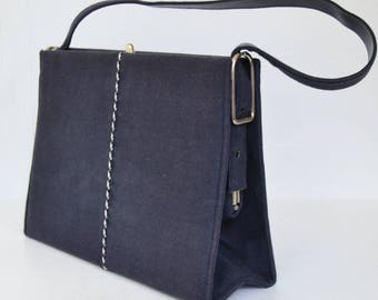 Vintage Blue Faux Suede Handbag with Silver Metal Buckles and Piping