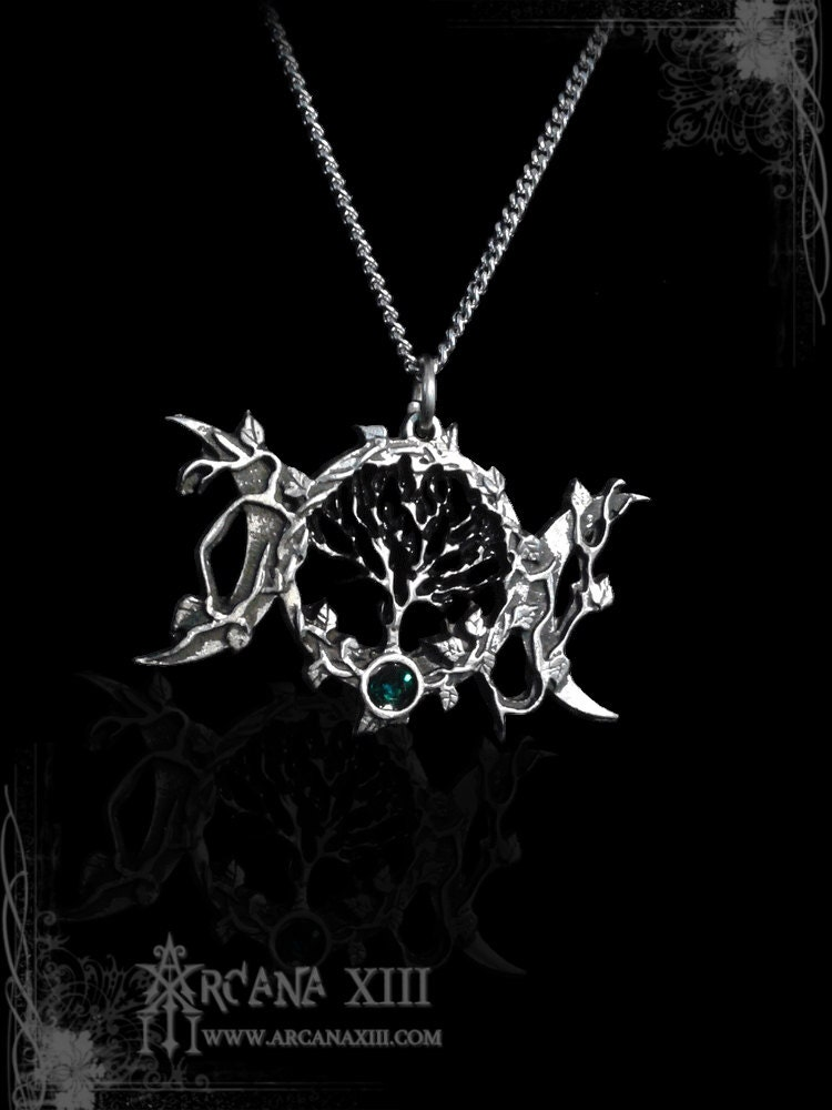 lotus goddess devi necklace triple the symbolises amethyst purity silver heart product moon of