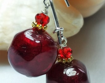 murano glass earrings, Pietre red color, leaf Gold 24 kt, lampwork, handmade