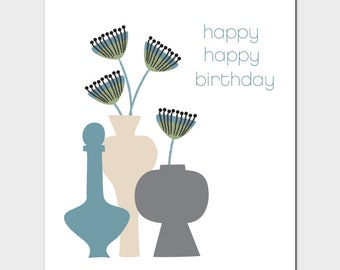 Vases Birthday Card with Queen Anne's Lace