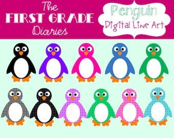 Colorful Polka Dot Winter Penguin Digital Clip Art --BUY 2, GET 1 FREE