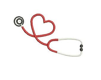Heart Stethoscope Nurse Embroidery Fill Design  Machine Instant Download Digital File EN2048F1