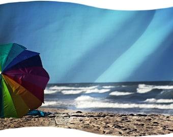 Beach Umbrella Ocean Sea Dream Coastal Art - Fine Art Photograph Print Picture on Dye Infused Aluminum