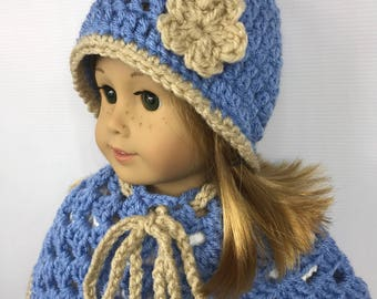 "18"" doll hat, 18"" doll poncho, doll clothes, doll back to school wear, blue and tan, winter wear, free shipping"