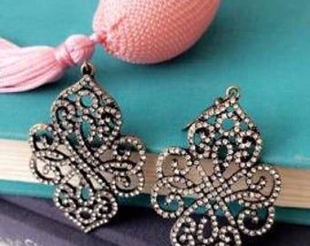 Filigree Antiqued Brass Earrings