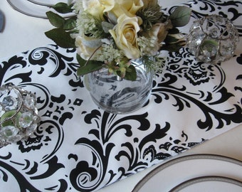 Traditions White And Black Damask Table Runner Wedding Table Runner Black  On White