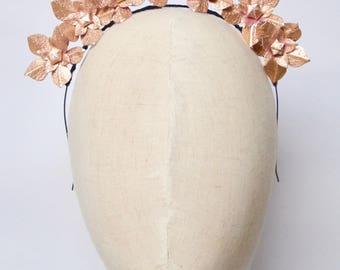 Metallic rose gold real leather flower fascinator headpiece headband