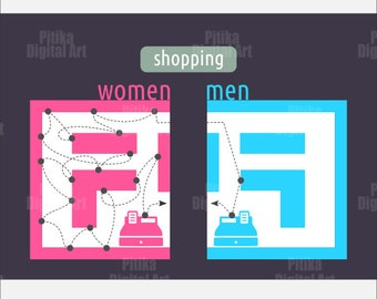 Differences between men and women, image, shopping, graphic design, printable - Instant Download