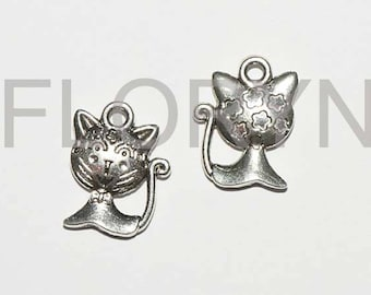 2 cats, silver Metal Pendants charms