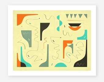 SMALL TALK (Giclée Fine Art Print) Abstract Wall Art for the Home Decor