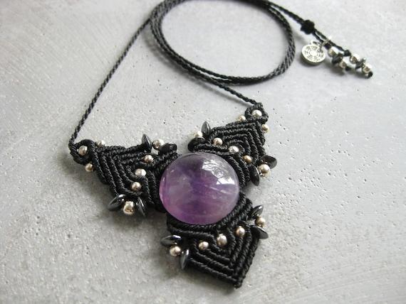 Faërie . Amethyst Micro Macrame Necklace . © Design by .. raïz ..