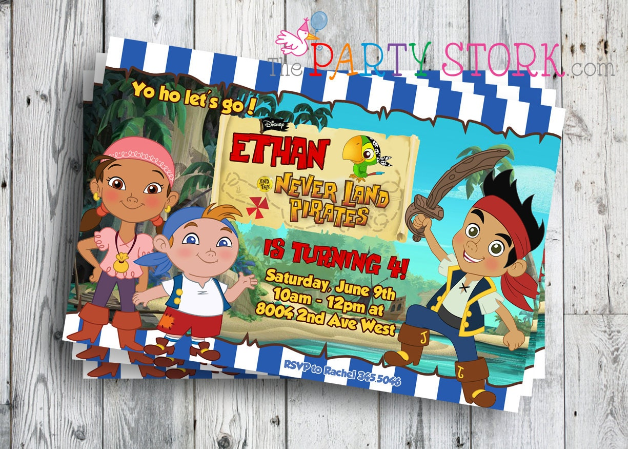 Jake and the neverland pirates invitations printable boys zoom filmwisefo Image collections