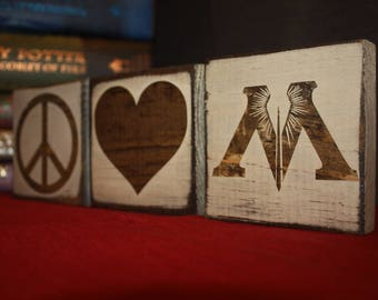 Peace, Love & Ministry of Magic or I <3 Ministry of Magic | Harry Potter Desk/Shelf Decor Blocks / Sign / Home Decor