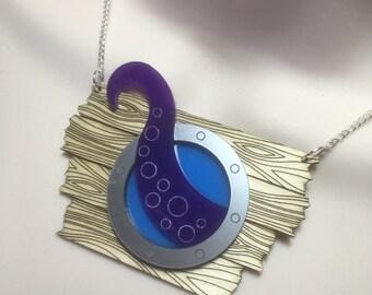 The KRAKEN ATTACKS!...Acrylic/wood laser cut statement necklace
