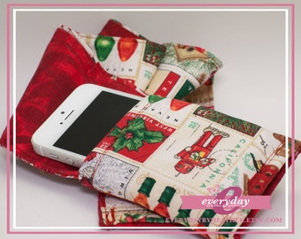 dSLR Camera Strap Cover - Red Swirls & Christmas Postage Stamps