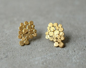 Gold Cluster earrings, original hand made jewelry, bridal earrings, gift for her, bunch earrings, bunch posts,baladi, designer jewelry,