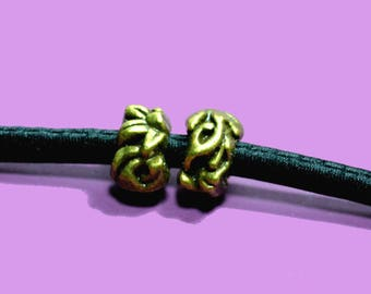 10 beads for cord 5mm bronze