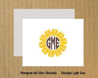 Sunflower Note Cards, Set of 10, Sunflower, Sunflower Monogram, Sunflower Cards, Sunflower Thank You Cards, Thank You Cards, Flower Cards