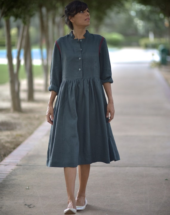 with Pure Embroidery Khadi Hand Paris Charcoal Cotton handloom Contrast Dress in USSfBaPq