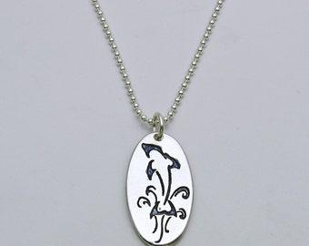 Silver Dolphin Necklace, Handmade Dolphin Necklace, Whimsical Dolphin Necklace, Doodle Dolphin Necklace, Zentangle Dolphin