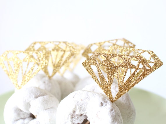 Donut Toppers Diamond Cupcake Toppers Bridal Shower
