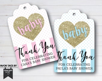 Custom gold glitter heart baby shower Favor Tags. Goodie bag labels digital file, printable or printed. Any occasion, birthday, sprinkle