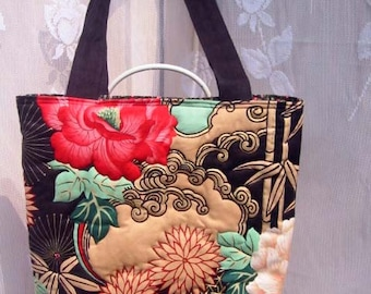 Quilt Asian Floral Tote Bag Purse with Magnetic Snap closure