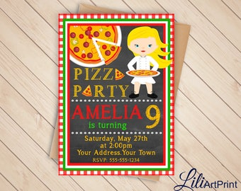 Pizza Party Birthday Invitation, Pizza Invite, Pizza Party Birthday Party, Digital file (3)