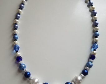 Navy Blue and White Necklace Pearl Bead Necklace