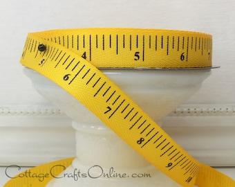 """Twill Ribbon, 5/8"""" wide, Yellow Gold Measuring Tape Print - THREE YARDS - d. stevens, """"Mustard"""" Twill Tape Measure Ribbon"""