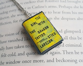 The Girl With The Dragon Tattoo Handmade Mini Book Necklace / Clay Miniature Books Jewelry - Book Lover Gifts (SKU: FN2-17)