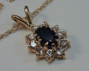 """2 Gram 14K Yellow Gold Sapphire and Diamond Pendant with 18"""" Chain"""