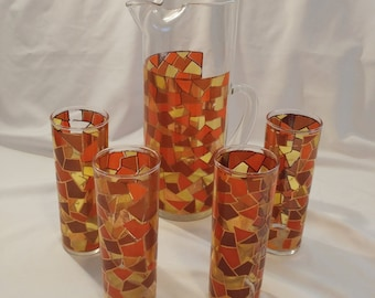 1960s Mid Century West Virginia Glass Company Pitcher & Set of 4 Glasses