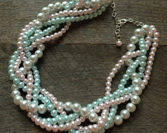 Pink Blue Chunky Pearl Necklace, Multi Strand Wedding Necklace, Pearl Statement Necklace on Silver or Gold Chain