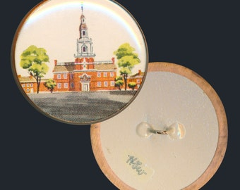 Button--Large Vintage Wessel Watch Crystal Building Architecture