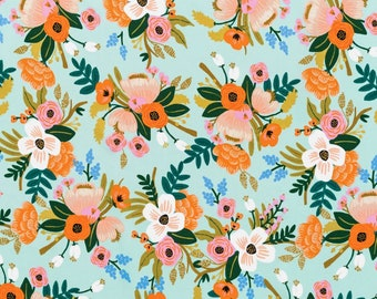 Lively Floral Mint Rayon by Rifle Paper Co for Cotton + Steel