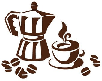 "Sticker ""Coffee pot and Cup Italian"" 55cm"