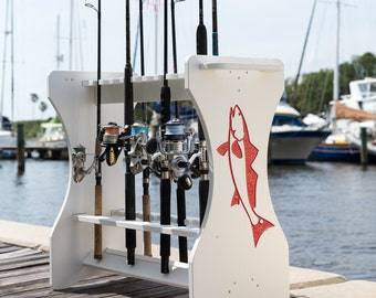 Redfish Engraved Fishing Rod Rack