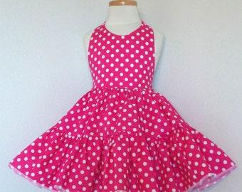 Hot Pink Polka Dot Twirly Halter Dress Sundress with full ruffled skirt Infant Baby Toddler Girl 3-6M 6-12M 12-18M 18-24M 2T 3T 4T 5 6 7 8