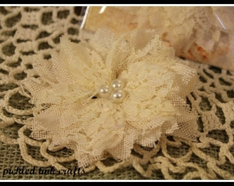 PRICE REDUCED!! Textured Elements Burlap Bird's Nest Flower - Ivory