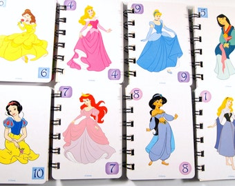10 Upcycled Princess Notebooks - Princess Party Favors - Princess Favors - Princess Birthday Favors - Upcycled Disney Princess Favors -