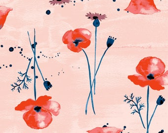 Wildflowers Lawn - 100% GOTS Certified Organic Cotton - Organic - Fabric by the Yard - Sustainable  - Boho - Water color - Floral - Coral