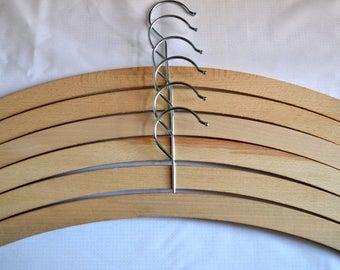 6 x Wooden Coat Hangers. 42cm long Adult size. Beech wood, Crafts.