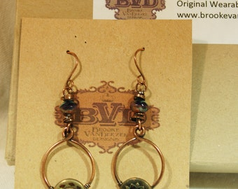 Antique Button Hoop Earrings