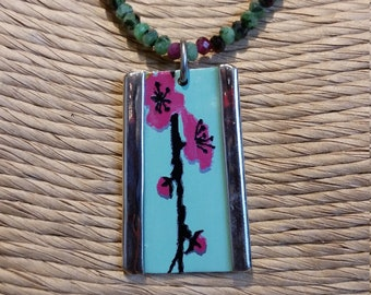 """Arizona Tea - 17"""" Ruby and Zoisite Necklace with Arizona Tea Pendant and Sterling Silver Clasp - Recycled Can Jewelry"""